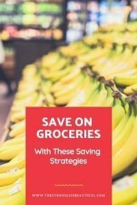 Text (Save on Groceries with these Srategies) and Bananas.