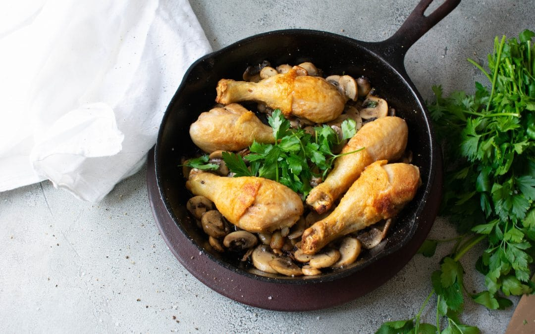 Chicken Drumsticks and Mushrooms