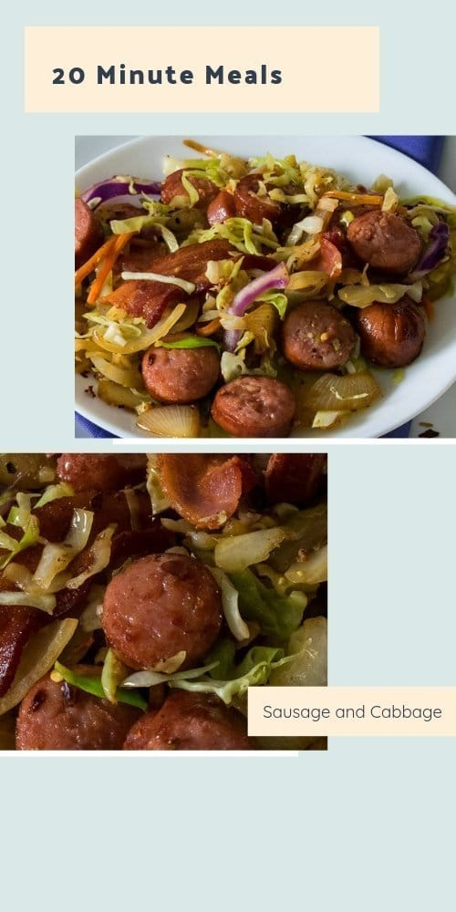 Delicious polish sausage and cabbage, ready in less than 20 minutes.