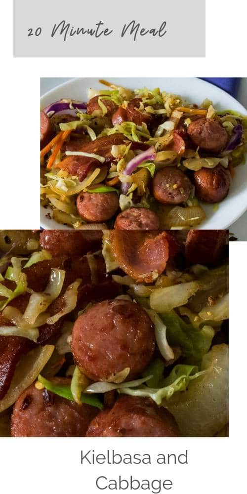 Delicious sausage kielbasa and cabbage takes less than 20 minutes.