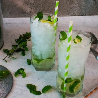 Delicious sugar free mojitos served with fresh mint over ice